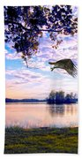 Osprey Leaving Perch Sundown Lake Bath Towel