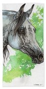 Ostragon Polish Arabian Horse Painting 1 Bath Towel
