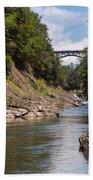 Ottauquechee River Flowing Through The Quechee Gorge Bath Towel