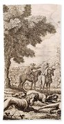 Otter Hunting By A River, Engraved Bath Towel