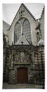 Oude Kerk Door With Bikes Amsterdam Bath Towel