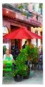 Outdoor Cafe With Red Umbrellas Bath Towel