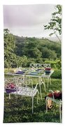 Outdoor Furniture By Lloyd On Grassy Hillside Hand Towel