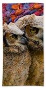 Owlets In Color Bath Towel