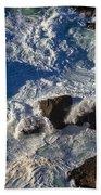 Pacific Ocean Against Rocks Hand Towel