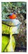 Painted Bullfinch Trio Bath Towel