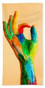 Painted Hand With Ok Sign Bath Towel