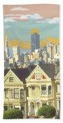 San Francisco Alamo Square - Watercolor Illustration Bath Towel