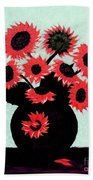 Painterly Red Sunflowers With Purple Bath Towel