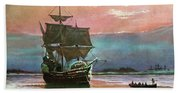 Painting Of The Ship The Mayflower 1620 Bath Towel
