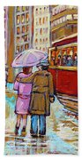 Paintings Of Fifties Montreal-downtown Streetcar-vintage Montreal Scene Bath Towel