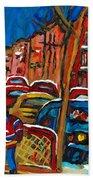 Paintings Of Montreal Hockey City Scenes Bath Towel