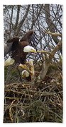 Pair Of Bald Eagles At Their Nest Bath Towel