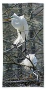 Paired Egrets At Lake Martin Louisiana Bath Towel