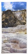 Palette Spring Terrace Panorama - Yellowstone National Park Wyoming Bath Towel