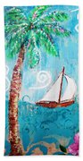 Palm Tree And Sailboat By Jan Marvin Bath Towel