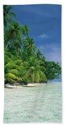 Palm Tree Lined Beach Papua New Guinea Bath Towel