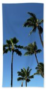 Palm Trees Against A Clear Blue Sky Bath Towel