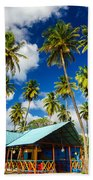 Palm Trees And Colorful Building Bath Towel