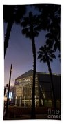 Palm Trees And Hp Pavilion San Jose At Night Bath Towel