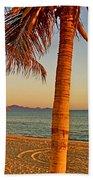 Palm Trees By A Restaurant On The Beach In Bahia Kino-sonora-mexico Bath Towel