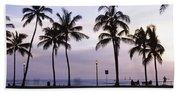 Palm Trees On The Beach, Waikiki Bath Towel