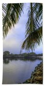 Palms Over The Waterway Bath Towel