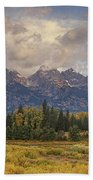 Panaroma Clearing Storm On A Fall Morning In Grand Tetons National Park Bath Towel