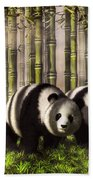 Pandas In A Bamboo Forest Bath Towel