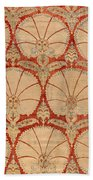 Panel Of Red Cut Velvet With Carnation Bath Towel