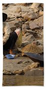 Panning For Gold Mekong River 1 Bath Towel