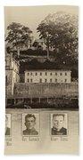 Panorama Alcatraz Infamous Inmates Sepia Bath Towel