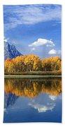 Panorama Fall Morning At Oxbow Bend Grand Tetons National Park Bath Towel