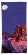 Panorama Moonset Middle Palisades Glacier Eastern Sierras California Bath Towel
