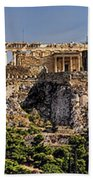 Panorama Of The Acropolis In Athens Bath Towel
