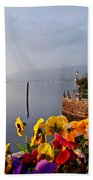 Pansies On Lake Maggiore Bath Towel