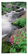 Paradise River And Spring Wildflowers Bath Towel