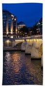 Paris Blue Hour - Pont Neuf Bridge And La Samaritaine Bath Towel