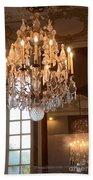 Paris Crystal Chandelier - Paris Rodin Museum Chandelier - Sparkling Crystal Chandelier Reflection Bath Towel