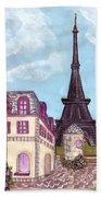 Paris Eiffel Tower Inspired Impressionist Landscape Bath Towel