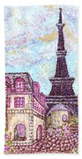 Paris Eiffel Tower Skyline Inspired Pointillist Landscape Bath Towel