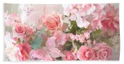 Paris Shabby Chic Dreamy Pink Peach Impressionistic Romantic Cottage Chic Paris Flower Photography Bath Towel