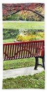 Park Bench By The Pond Bath Towel