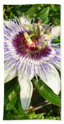 Passiflora Close Up With Garden Background  Bath Towel
