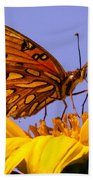 Passion Butterfly On The Mexican Sunflower Bath Towel