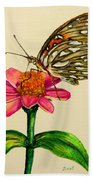 Passion Butterfly On Zinnia Bath Towel