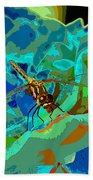 Pastel Dragonfly Rose Bath Towel