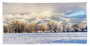 Pasture Land Covered In Snow With Taos Bath Towel