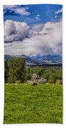 Pastures And Clouds  Bath Towel