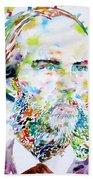 Paul Verlaine - Watercolor Portrait.2 Bath Towel